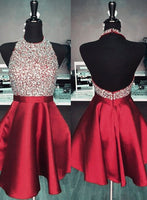 Short Burgundy Prom/Homecoming Dress with Beading, Simple Satin 8th Grade Dance Dress, Open Back Sweet 16 Dress SW149