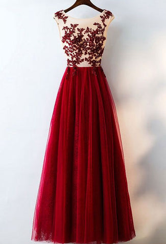 Fashion Appliqued A-line Long Prom Dress , Long Winter Formal Dress LP007