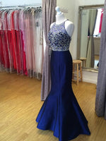 Royal Blue Beaded Top Mermaid Floor-Length Prom Dress,Long Formal Dress LP043