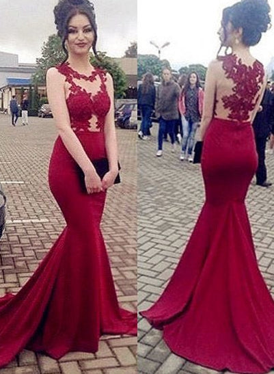 fdb53f80c8f4 Appliqued Long Mermaid Prom Dress Semi Formal Dresses Wedding Party Dr –  Promtailor
