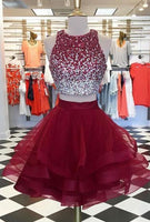 Two Piece Top Beaded Short Homecoming Dress,Graduation Dresses,Dance Dress Sweet 16 Dress SW077