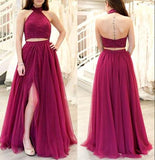 Backless Two Pieces Long Prom Dress ,Beaded Formal Dresses ,Modest Wedding Party Dress LP206