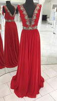 Fashion Floor Length Prom Dress Beaded Semi Formal Dresses Wedding Party Dress LP192