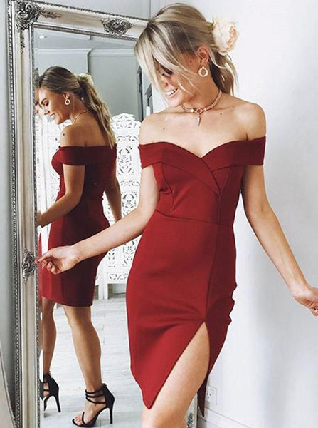 Burgundy Tight Short Homecoming Dress Body Con Graduation Dresses Dance Dress Sweet 16 Dress SW140