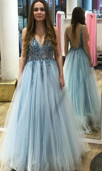 V-neck Long Prom Dress With Beading Fashion Winter Formal Dress Popular Party Dress LP396