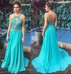 A-line Backless Beaded Floor Length Prom Dress Semi Formal Dresses Wedding Party Dress LP181