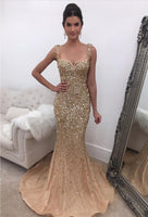 Fashion Mermaid Floor-Length Prom Dress with Full Beading,Long Formal Dress LP063