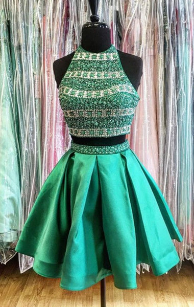 Chic Halter Sleeveless Short Prom/Homecoming Dress with Beading, Two Pieces 8th Grade Dance Dress, Sweet 16 Dress SW144