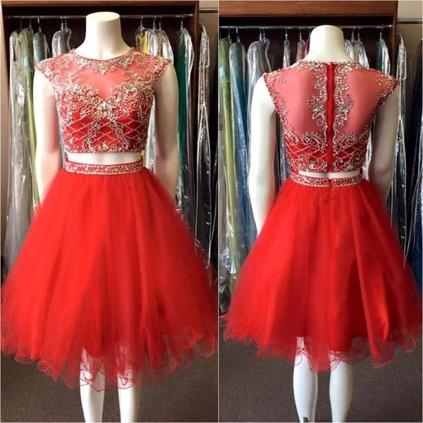 Red 2 Pieces Short Prom/Homecoming Dress, Beaded 8th Grade Dance Dress, Sweet 16 Dress SW146