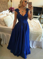 A-line Long Prom Dress With Pearls Semi Formal Dresses Wedding Party Dress LP115