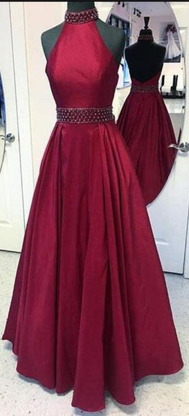 Backless Beaded Long Prom Dress ,2019 Fashion Formal Dresses ,Modest Pageant Dress LP246