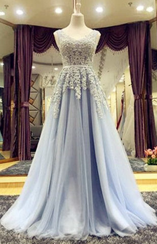 Backless A-line Long Prom Dress With Applique And Beading , Long Winter Formal Dress LP003