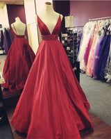 Deep V-Neck Floor-Length Satin Prom Dress,Long Formal Dress LP039
