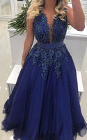 A-line Floor Length Prom Dress With Applique and Pearls Semi Formal Dresses Wedding Party Dress LP173