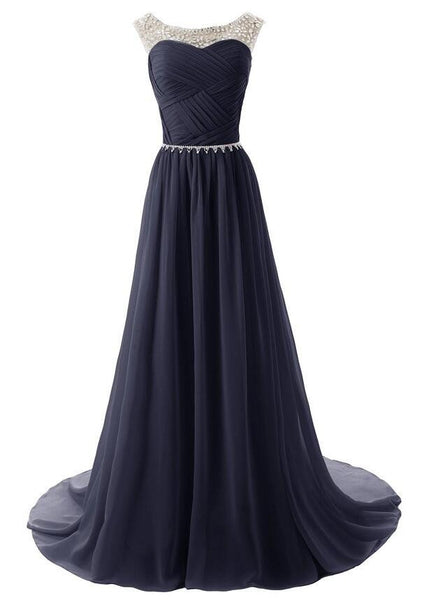 Long Prom dress,Chiffon Prom dress ,Beaded prom dress SU001