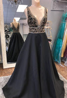 Sexy A-line Fashion Floor-Length Prom Dress with Beading,Long Formal Dress LP068