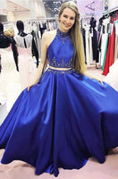 Two Piece Long Prom Dress ,Blue Beading Formal Dresses ,Modest Wedding Party Dress LP199