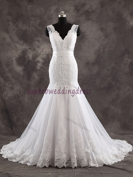 V-neck Mermaid Real Photo Bridal Dress,Custom Made Wedding Dress in High Quality WB026