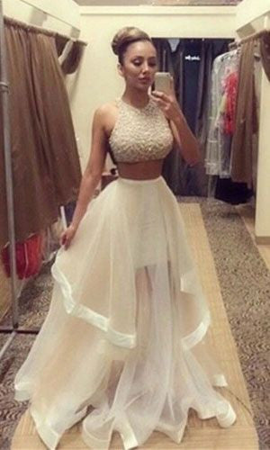 Two Piece Beaded Floor Length Prom Dress  I187