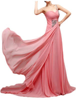 One Shoulder Floor Length Chiffon Prom Party Dress I051