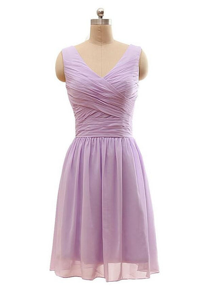 V-neck Short Chiffon Bridesmaid Dress  I054