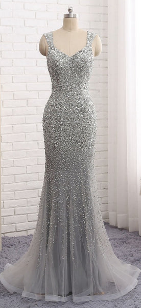 Fashion Mermaid Floor-Length Prom Dress with Full Beading,Long Formal Dress LP065