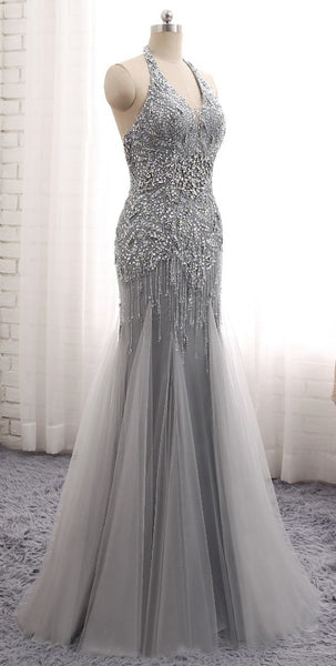 Fashion Mermaid Floor-Length Prom Dress with Full Beading,Long Formal Dress LP066