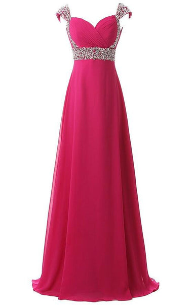 Beaded Floor Length  Chiffon Prom Dress  I1010