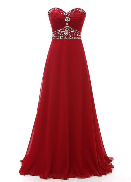 Strapless Floor Length Chiffon Prom Dress With Beading  I1014