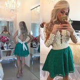 Short homecoming dress Prom dress with long sleeve  I1050