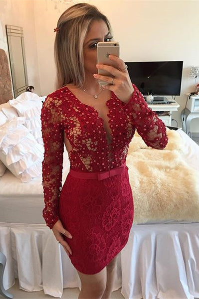 Short homecoming dress Prom dress with long sleeves I1051