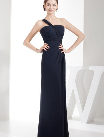 Chiffon Floor length Bridesmaid Dress With One Shoulder Strap