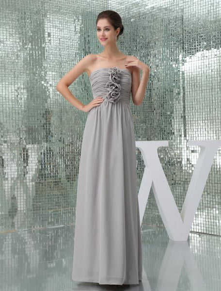 Floor length Chiffon Bridesmaid Dress With Handmade Flowers