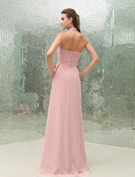 Halter Neck Chiffon Long Bridesmaid Dress