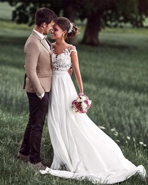 Summer Chiffon/Lace Bridal Dress,Custom Made Beach Wedding Dress in High Quality WB030