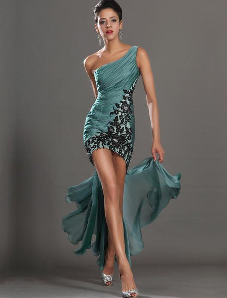 One Shoulder Prom dress ,Evening dress with applique