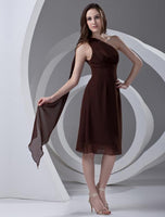 One shoulder chiffon short bridesmaid dress I001