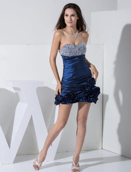 Strapless Beaded short homecoming dress prom dress I014