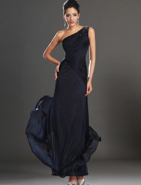One shoulder Chiffon Floor Length prom evening dress I027
