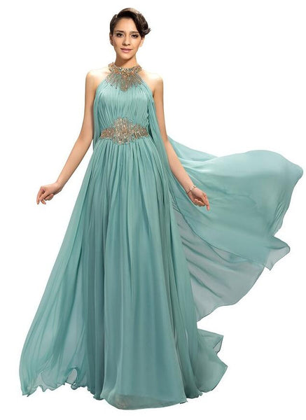 Chiffon prom dress,2016 evening dress with beadings