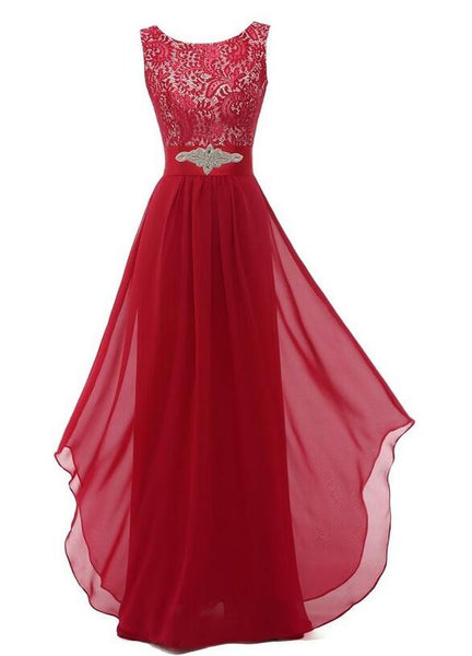 Chiffon prom dress,2016 Red evening dress