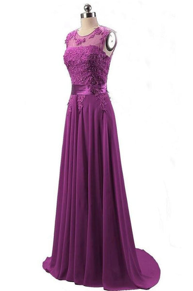 A-line Chiffon prom gown with applique