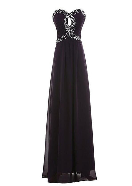 Sweetheart Strapless Chiffon Party Evening Dress With Beadings L015