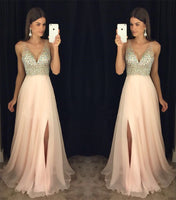 Fashion V-neck Beaded Long Prom Dress , Long Winter Formal Dress P010