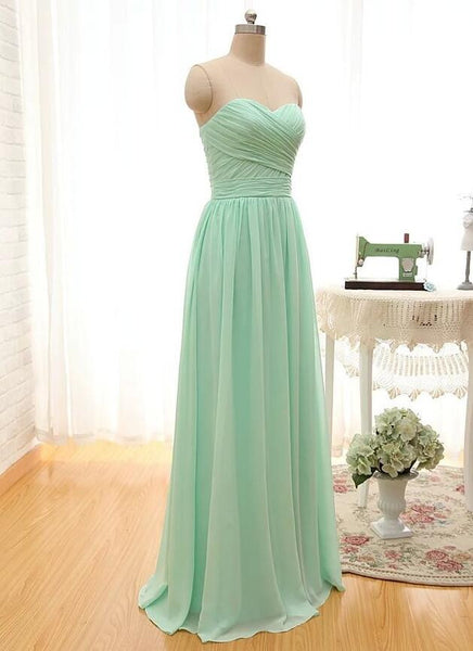Sweetheart Strapless Chiffon Long Bridesmaid Dress