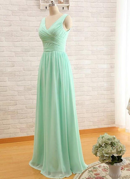 V-neck Chiffon Long Bridesmaid Dress