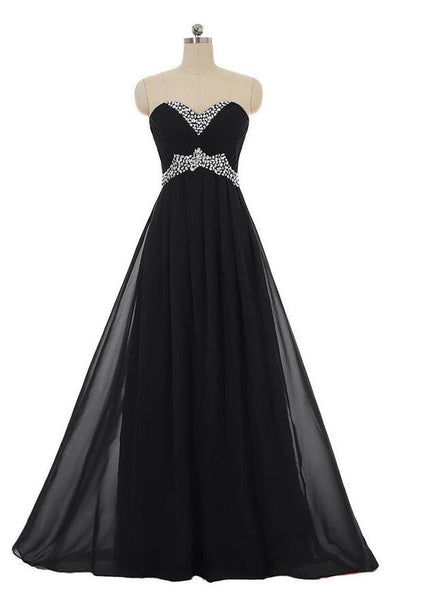Sweetheart Long Chiffon Prom dress With Beadings L014