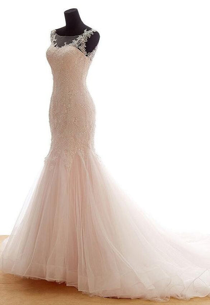 Backless Mermaid Tulle Wedding Dress With Applique