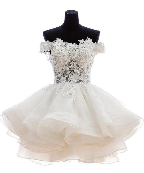 Short Reception Wedding Dress With Applique