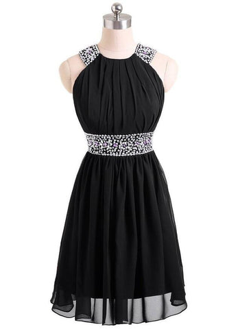 Black beaded chiffon short party evening dress